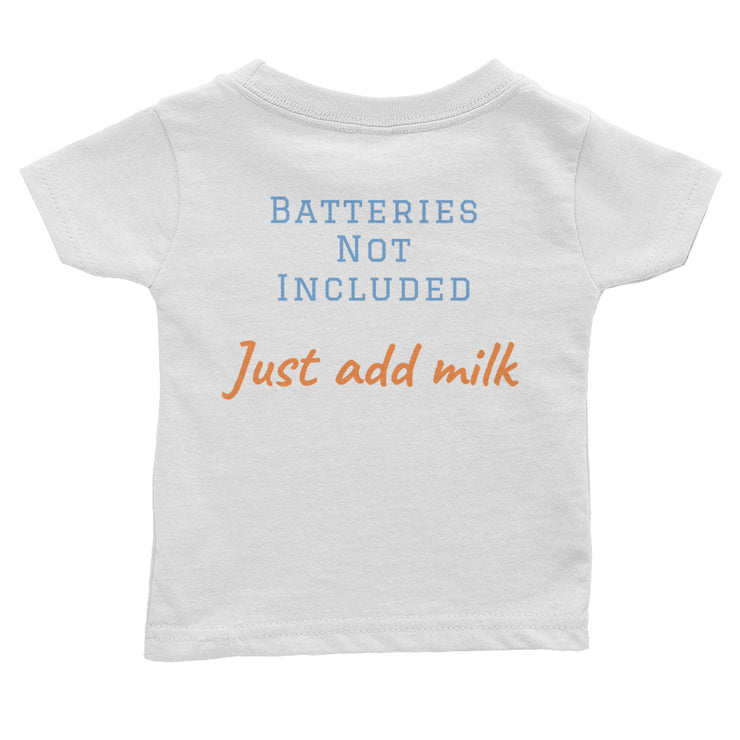 white baby t-shirt back side with batteries not included text