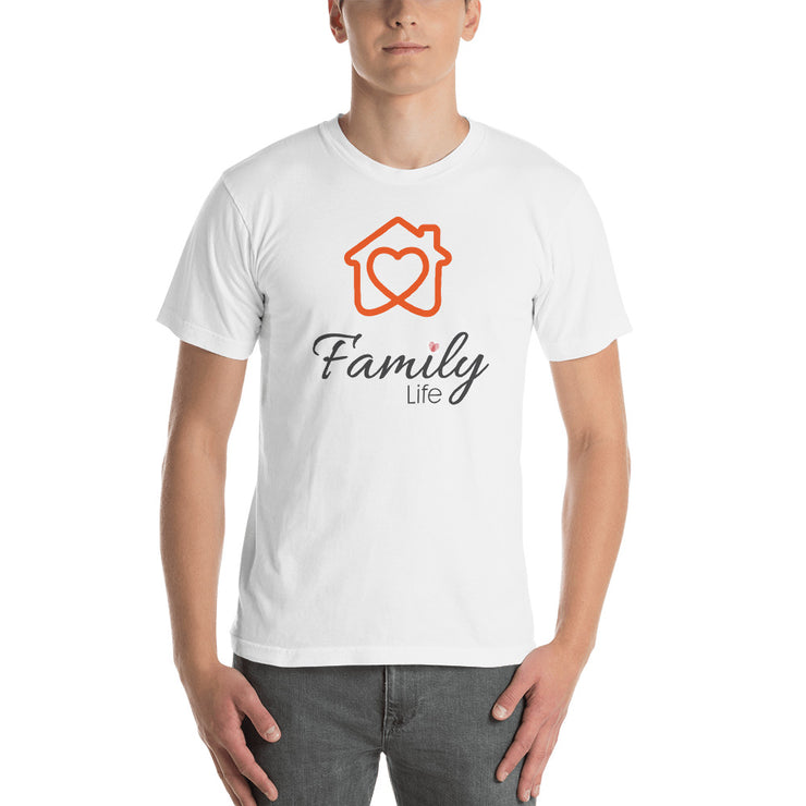 man standing front on with white shirt on with orange eden shack logo words say Family Life