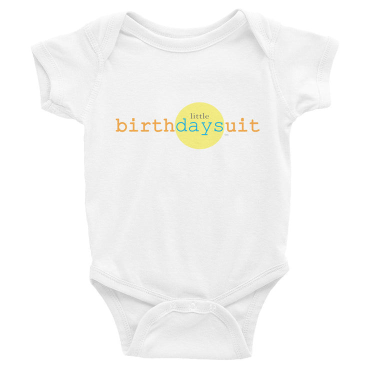 white infant body suit with little birthday suit logo on the front on white background