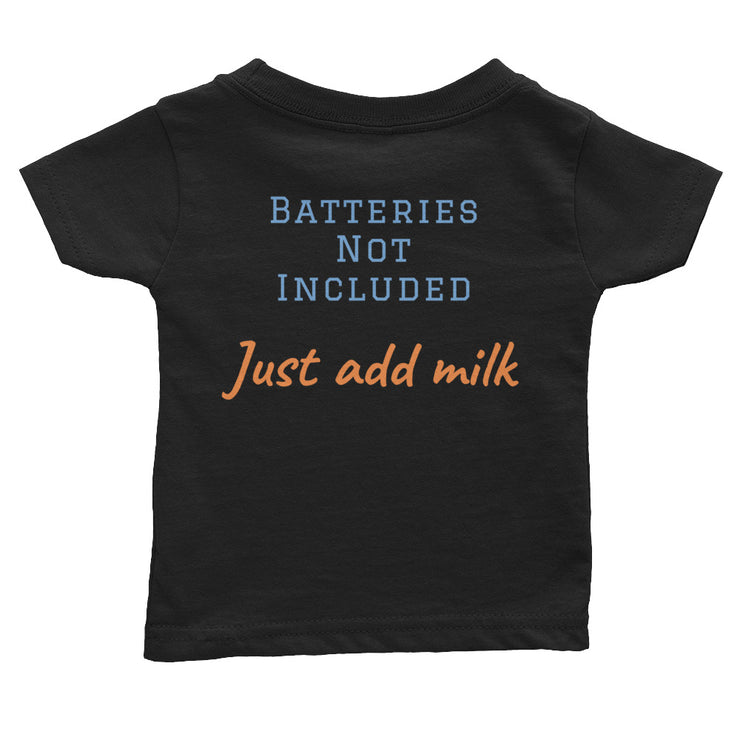 black baby t-shirt back side with batteries not included text