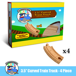 3.5' Curved Wooden Train Tracks, 4-pack