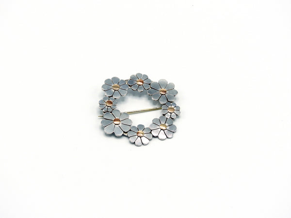 Sterling & bronze brooch