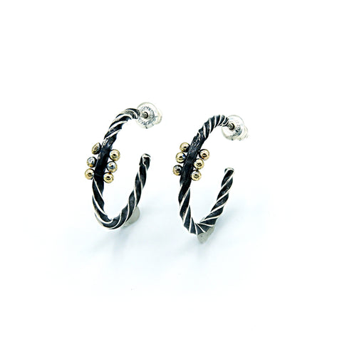 Double Reverse Twist Hoops With 3 Gold Dewdrops