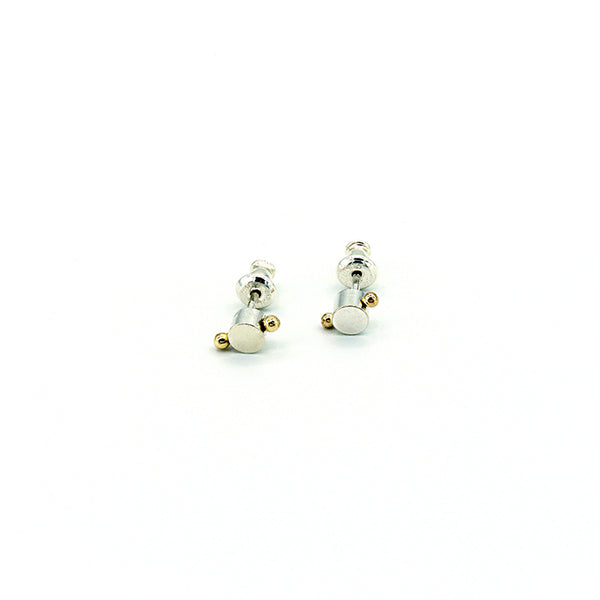 Round Sterling Silver Posts with 1 Gold Dewdrop
