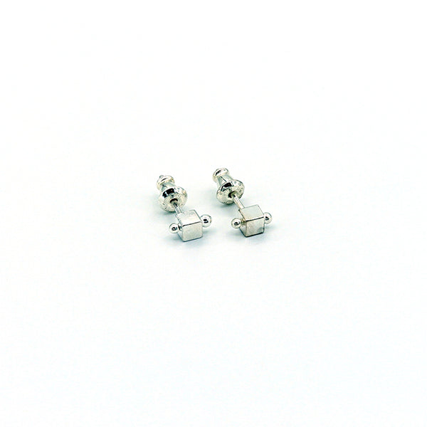 Square Sterling Silver Posts with 1 Dewdrop