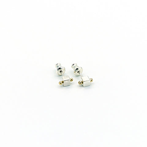 Square Sterling Silver Posts with 1 Gold Dewdrop