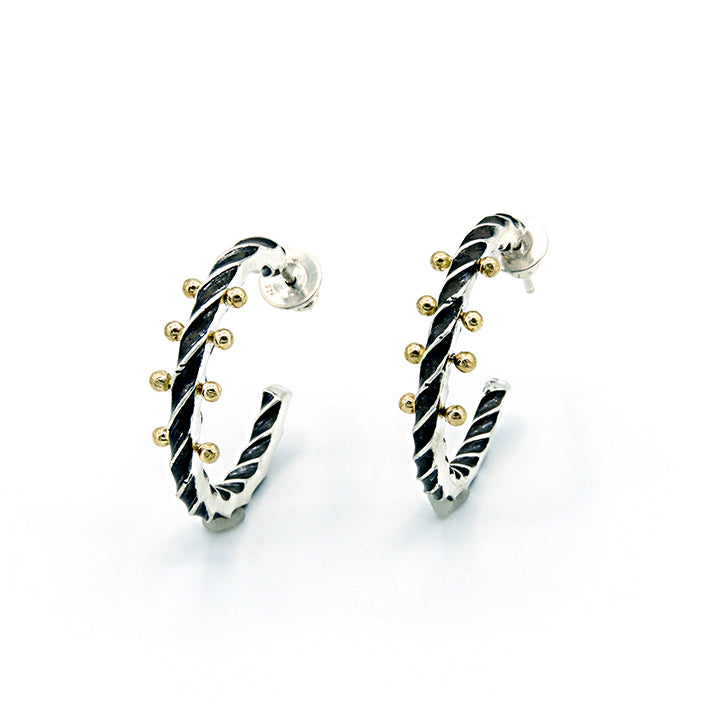 Twisted Sterling Hoops with 4 Gold Dewdrops