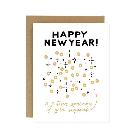 New Year Sequins Card