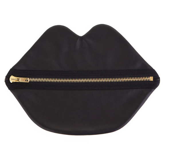 Black Suede Lip Bag