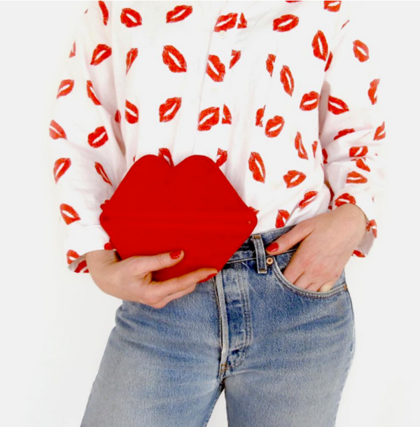 Red Suede Lip Bag