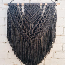 Load image into Gallery viewer, Dark Grey Macrame Wall Hanging