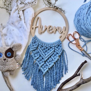 Macrame name plaque - Fern design