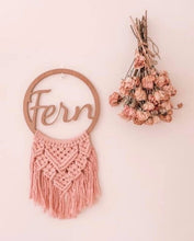 Load image into Gallery viewer, Macrame name plaque - Fern design