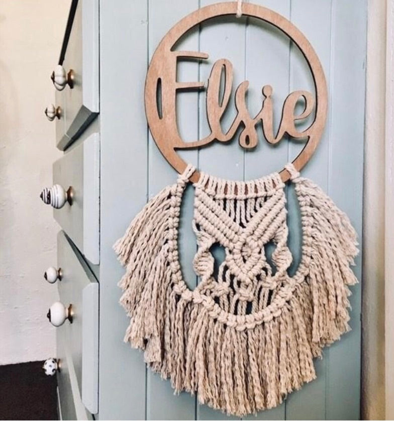Macrame name plaque - Elsie design