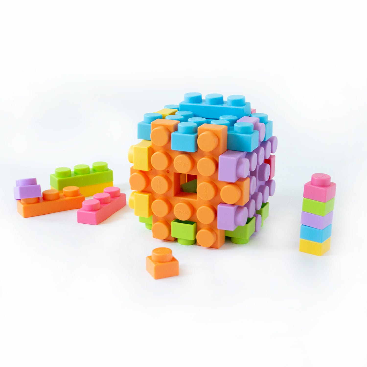 UNiPLAY Small Waffle Soft Building Blocks for Ages 3 Months & Up Toddlers-Small Cube 6-Piece Set