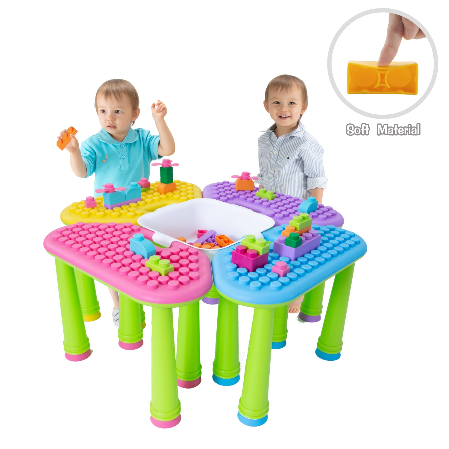 UNiPLAY 4-in-1 Soft Building Block Table Set (#UB05542)