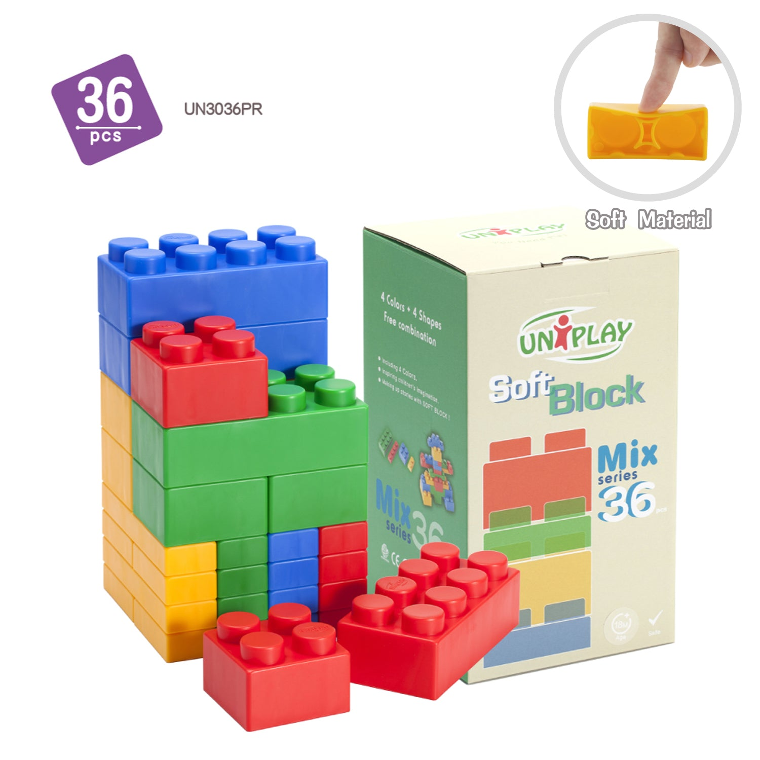 UNiPLAY Mix Soft Building Blocks with 4 Different Sizes for Ages 3 Months &Up Toddler and Baby Developmental, Educational, Creative Toy-36 Pieces Set