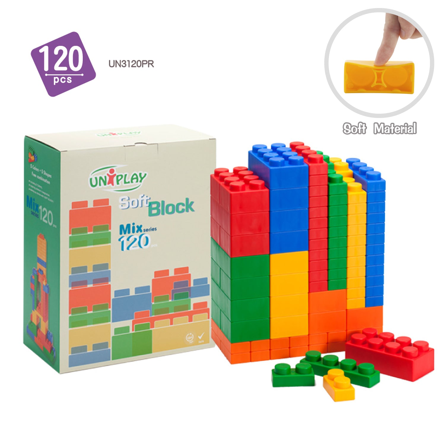 UNiPLAY Soft Building Blocks Mix Series 120pcs (#UN3120PR)