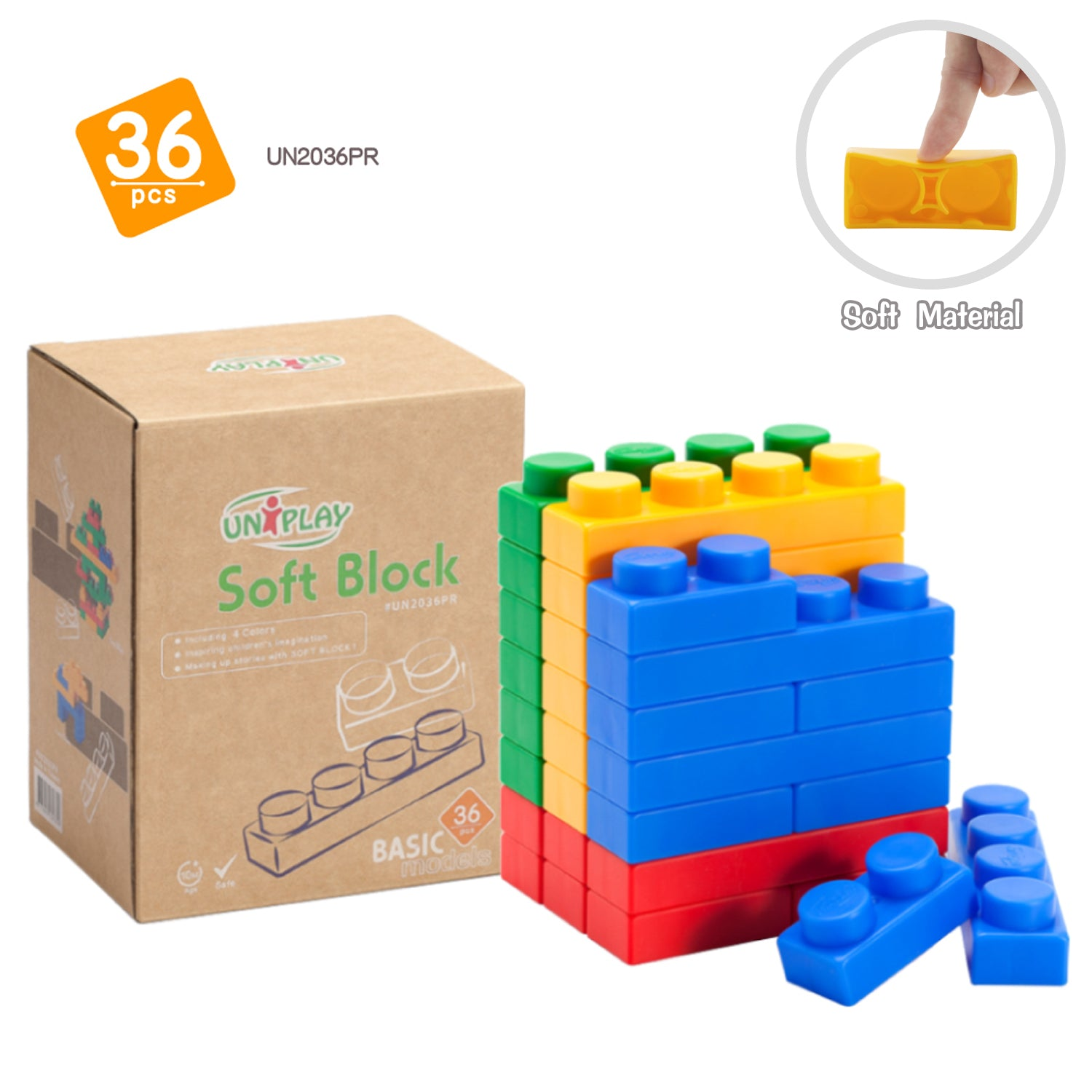 UNiPLAY Soft Building Blocks Basic Series 36pcs (#UN2036PR)
