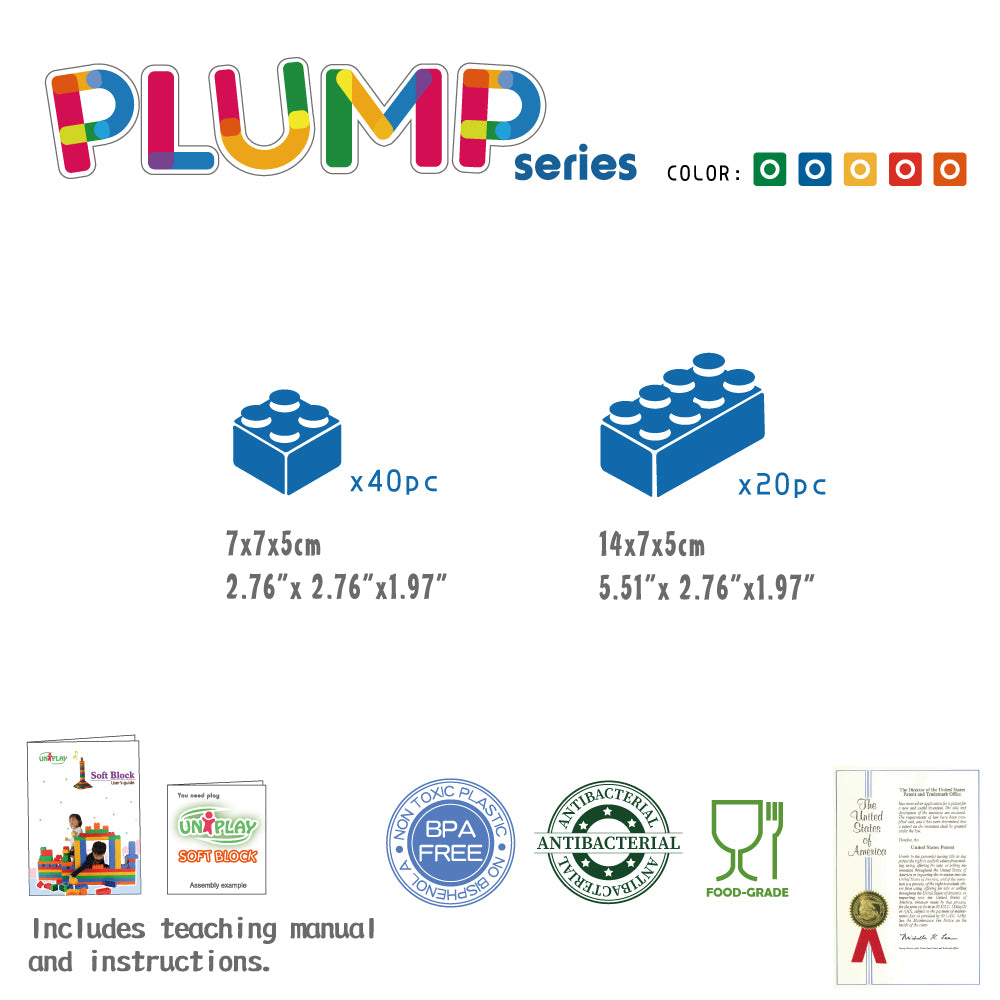 UNiPLAY Soft Building Blocks Plump Series 60pcs (#UN1060PR)(4 sets a ctn)