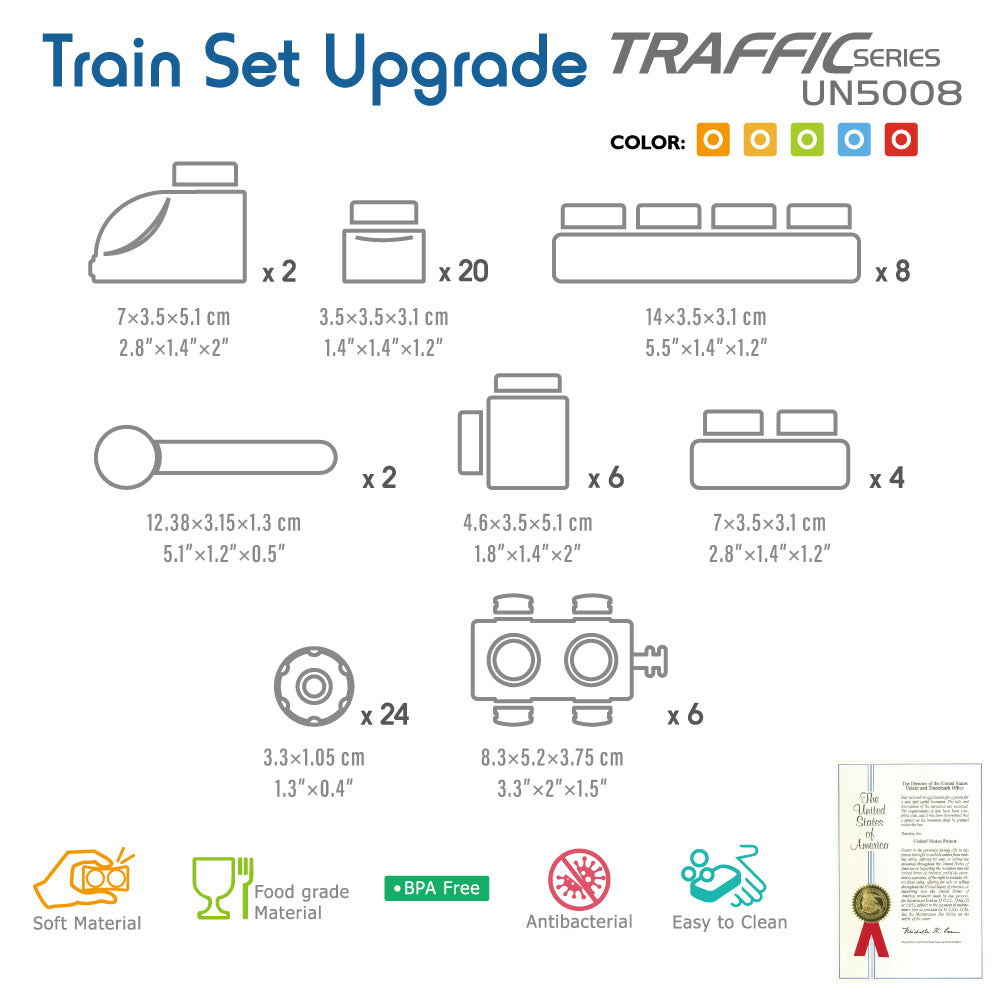 UNiPLAY Soft Building Blocks Traffic Series Train Set Upgrade (#UN5008)(16 sets a ctn)