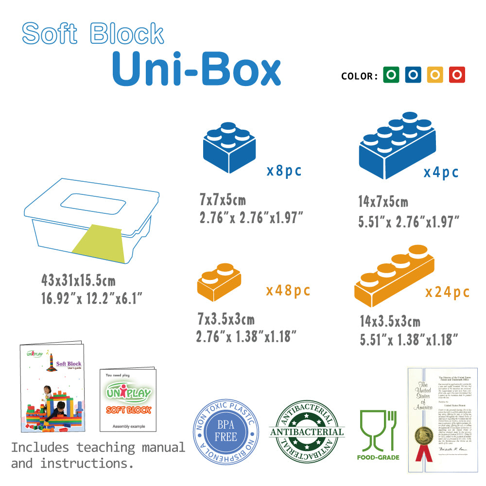 UNiPLAY Soft Building Blocks UNiBOX with 84pcs Blocks (#UN3084)