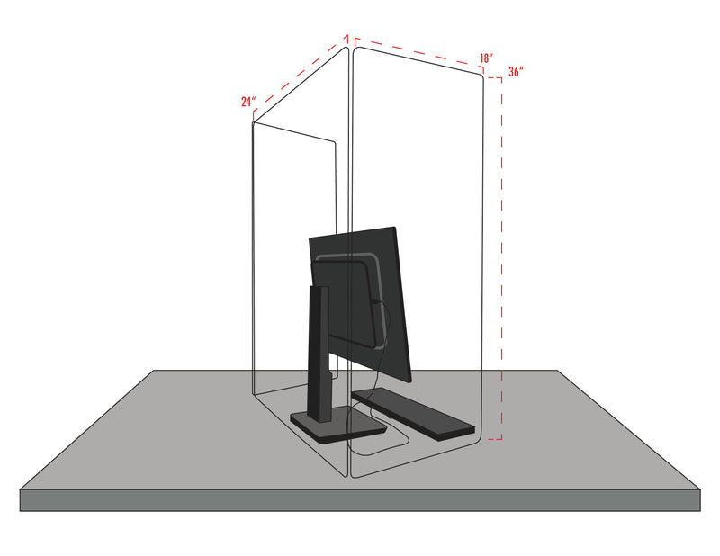 U Shape Desktop Sneeze Guard with Side Panels - Multiple Sizes Available, 180 Degree Coverage.