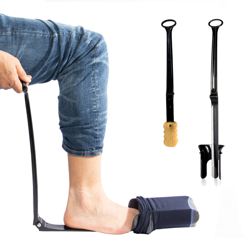 Stauber Best Sock Aid and Shoe Horn - Hinged Sock Aid and New Extra Long Handled Shoe Horn - Design for post surgery.