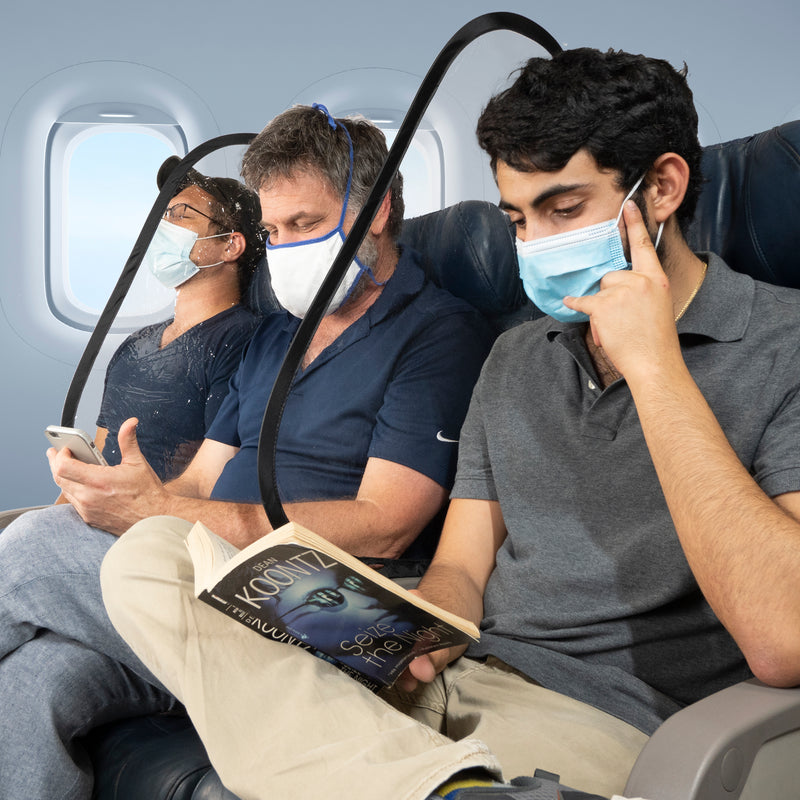 STAUBER Best Airplane Sneeze Guard - This Personal Airplane Seat Divider is Reusable, Portable, Collapsable, Flexible, and User Friendly - Sky Shield