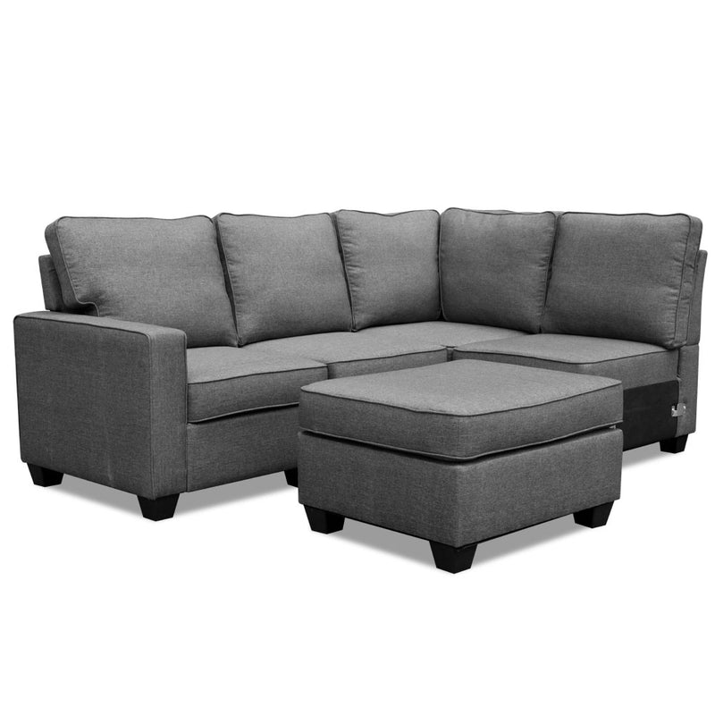5 Seater Sofa Chair Set Corner Couch Ottoman Fabric Dark Grey Artiss