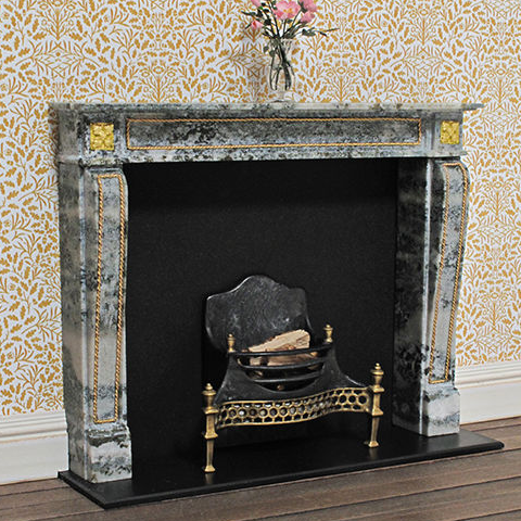 French 1880 dollhouse fireplace made from green marble