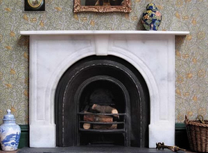 Victorian Bell Arch dollhouse fireplace made from marble