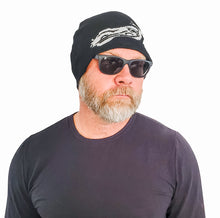 Load image into Gallery viewer, BLACK XOXO MOTORCYCLE BEANIE