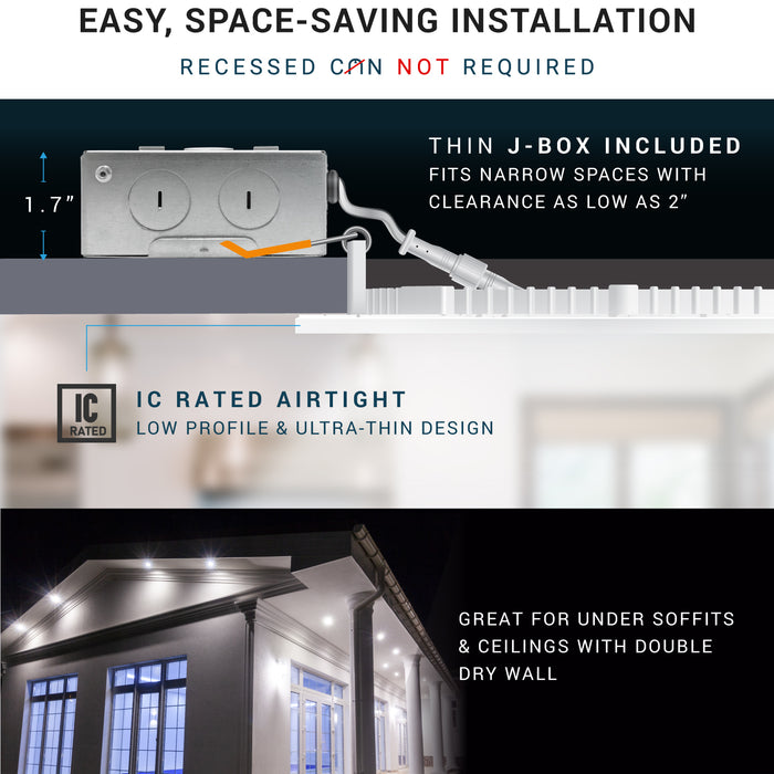 "4"" LED Recessed Ceiling Light with Junction Box - 9W"