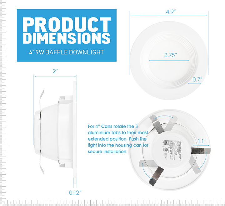 "4"" LED Baffle Downlight - 9W"