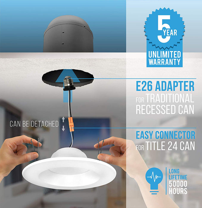 "5/6"" LED Smooth Downlight - Recessed Light - Spring Installation - 15W"