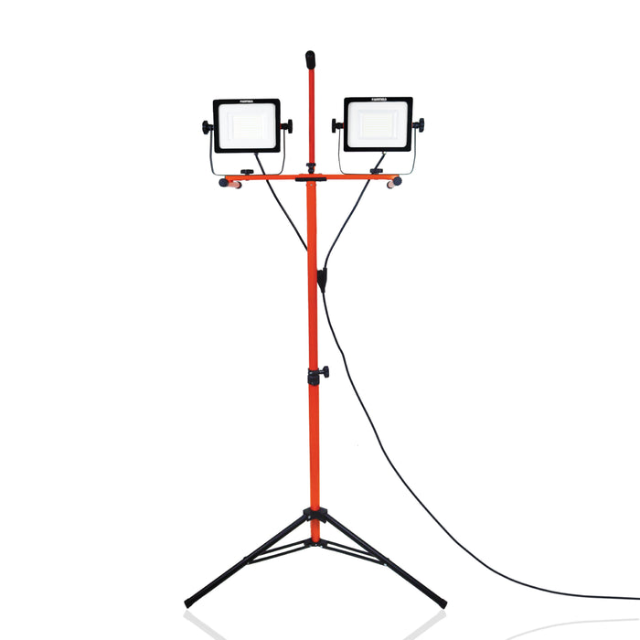 LED Dual-Head Work Light - 6ft Adjustable Tripod Stand