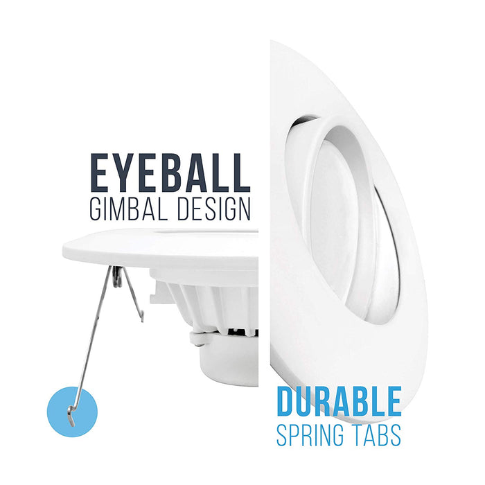 "6"" LED Gimbal Eyeball Downlight - Directional Lens - Recessed Light - 15W"