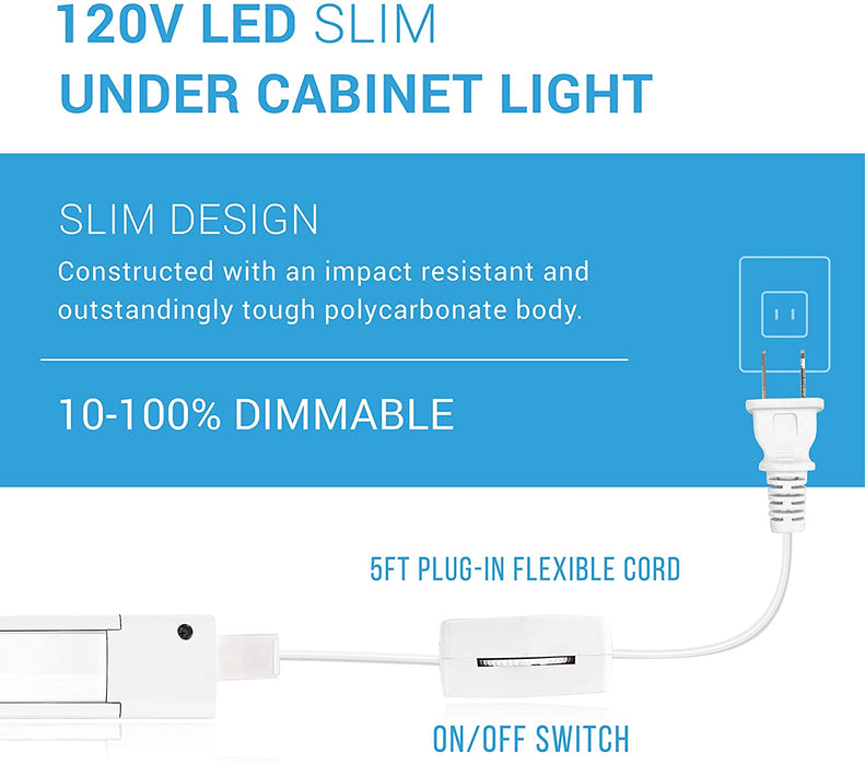 LED Slim Under Cabinet Light - Additional Accessory: 2FT Linking Cable