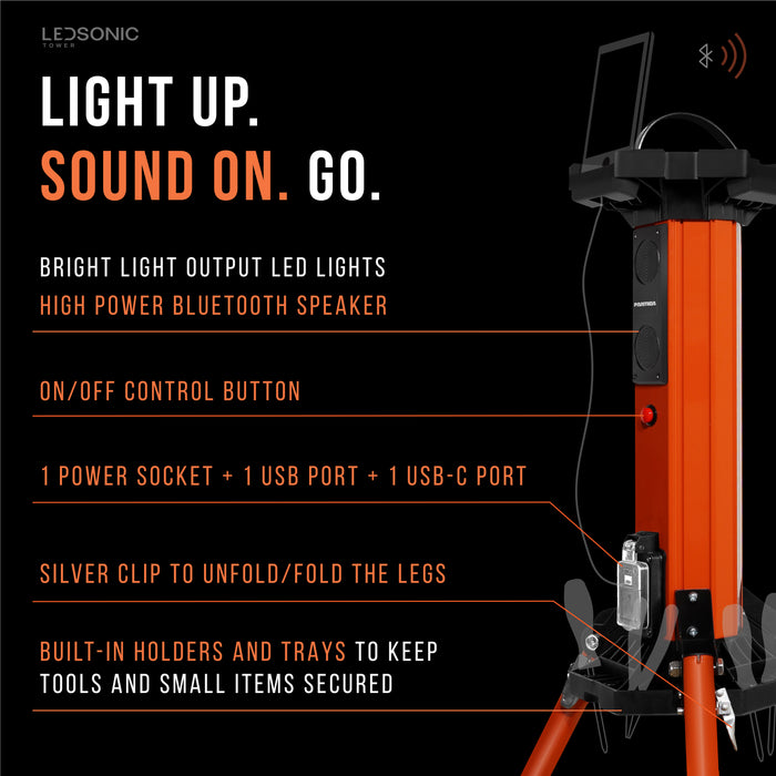 LEDSONIC Tower Light with Bluetooth Speaker - 5000 Lumens