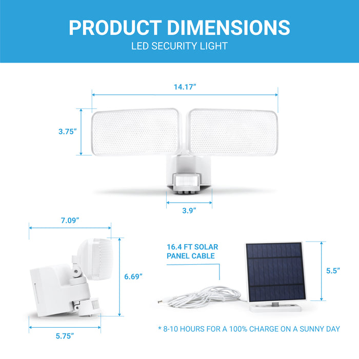 Motion Sensor LED Security Light - Solar Panel Rechargeable