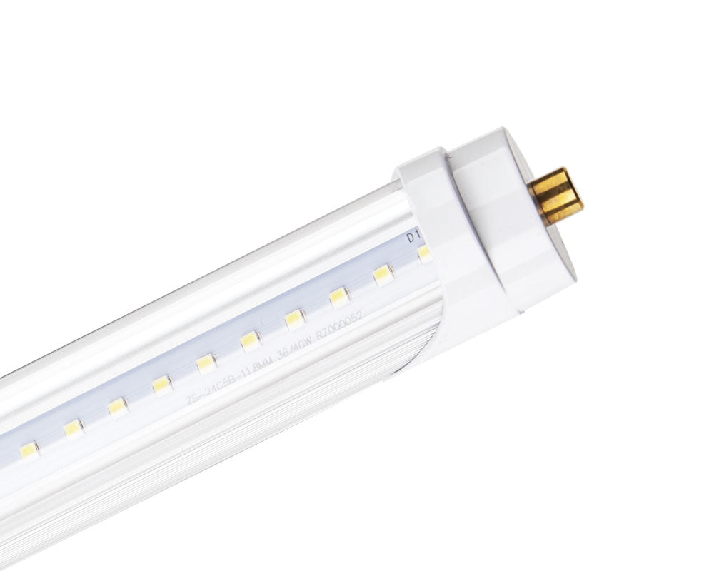 Shop 8FT LED T8 Tube Light Bulb today with clear lens for brighter light output. With these bulbs you can bypass the ballast and directly hardwire to the exisiting fixtures. They come with Single Pin Base. These tubes are fully certified and eligible for state and nationwide rebate programs. They are great for any warehouse or commercial buildings, they are also shatterproof.