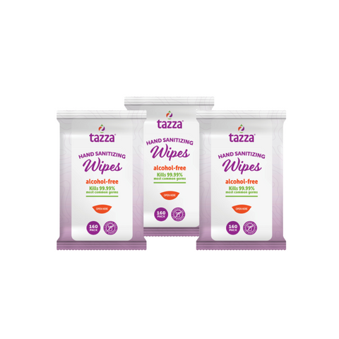 Tazza Alcohol-Free Hand Sanitizer Wipes - 160ct Bag - 3 Bags - 480 Total Count
