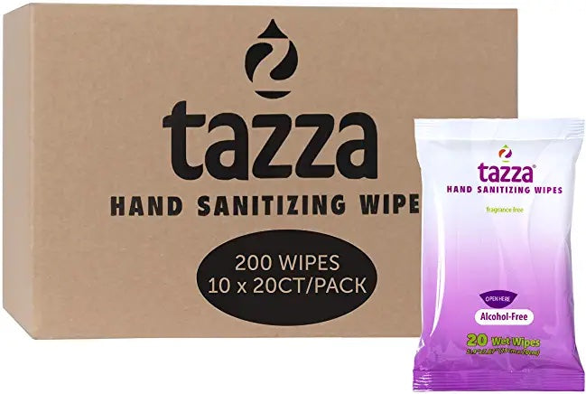 Tazza Alcohol-Free Hand Sanitizer Wipes - 20ct Bag - 10 Bags - 200 Total Count