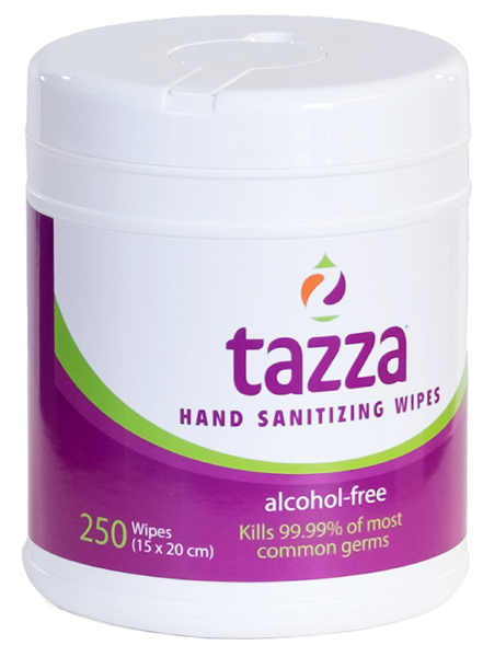 Tazza® Alcohol-Free Hand Sanitizing/ Surface Cleaning Wipes (In Resealable Tubs) 250ct/Tub, 12 Tubs/Cs, 3,000 total wipes