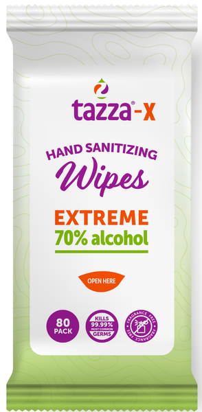 TAZZA® 70% Alcohol-Based Hand Sanitizing Wipes (In Resealable Packets) 80Ct/Bag, 30 Bags/Cs, 2400 total wipes