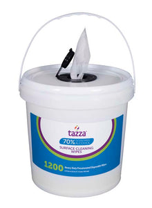 Tazza 70% Isopropyl Alcohol (IPA) Based Hand Sanitizing Wipes 1200Ct/Bag, 4 buckets/Cs, 4800 total wipes
