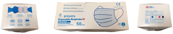 Disposable Protective Mask (50 count per box.  40 boxes per case.  2,000 total. $1.00/mask)