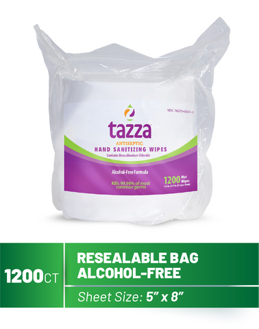 1200ct Alcohol-Free Hand Sanitizing Wipe Bags- 4 Bags per Case