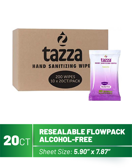 20ct Alcohol-Free Hand Sanitizer Wipes - 10 Packs per Case